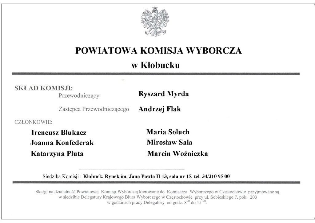 Skład Powiatowej Komisji Wyborczej w Kłobucku.jpeg